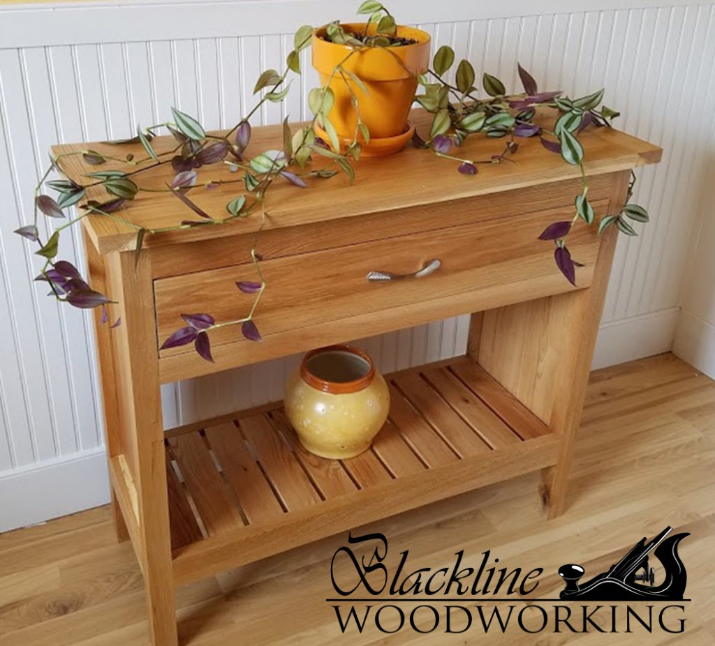 Unique Sofa Tables: Custom Oak Sofa Table/ Hall Table With Drawer And Shelf